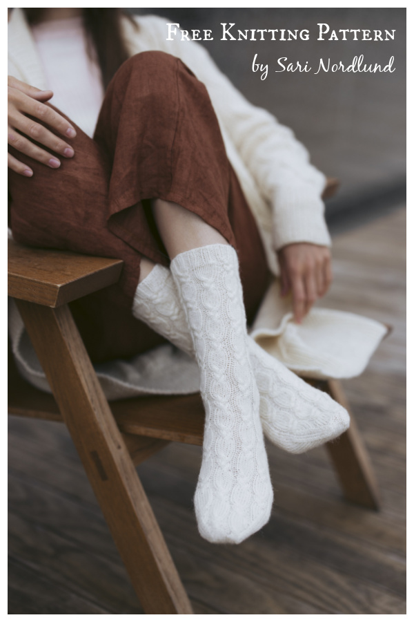 Oodi Cabled Socks Free Knitting Pattern
