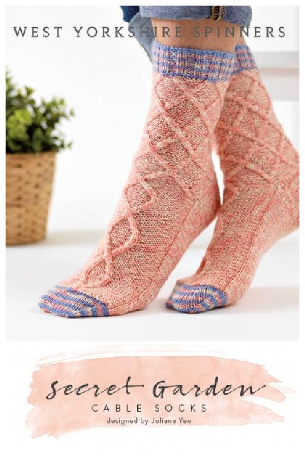 Secret Garden Cable Socks Free Knitting Pattern