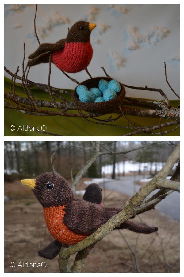Spring Robin Bird Free Knitting Pattern