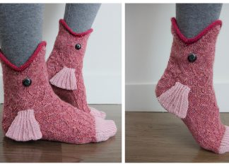 3D Fish Socks Knitting Pattern
