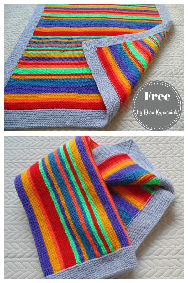 Baby Rainbow Blanket Free Knitting Pattern