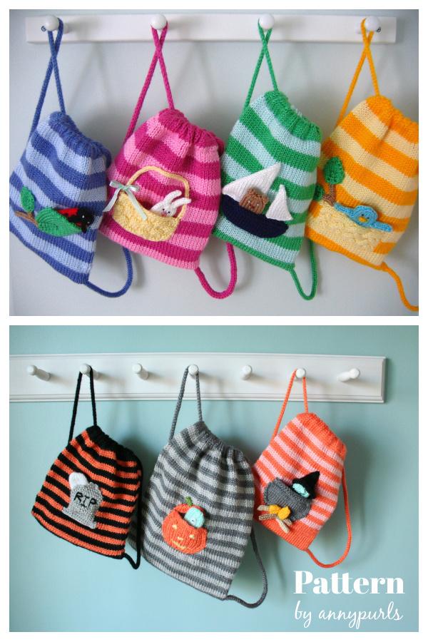 Buddy Bags Drawstring Backpack Free Knitting Pattern