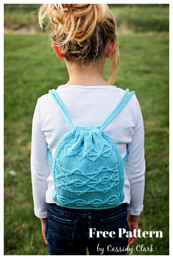 Cable Drawstring Backpack Free Knitting Pattern