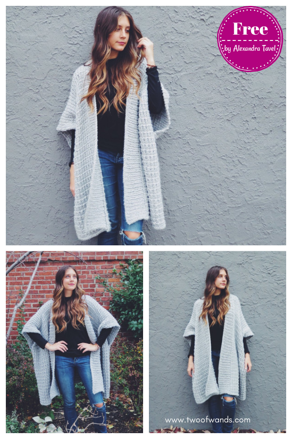 Cloaked in Clouds Poncho Free Knitting Pattern