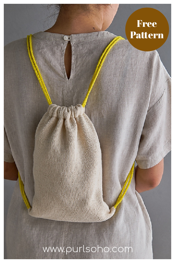 Drawstring Backpack Free Knitting Pattern