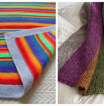 Garter Stitch Colorful Blanket Free Knitting Pattern