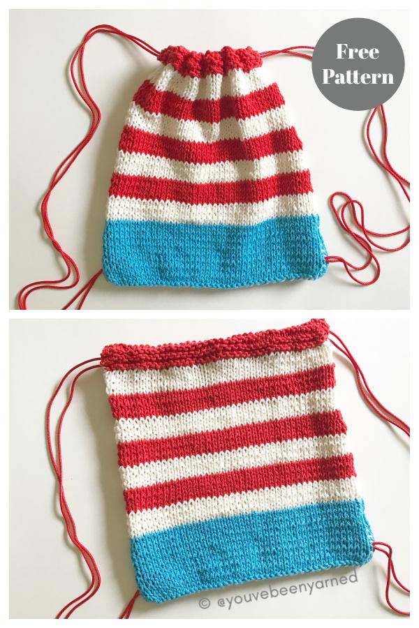 Little Patriot Drawstring Backpack Free Knitting Pattern