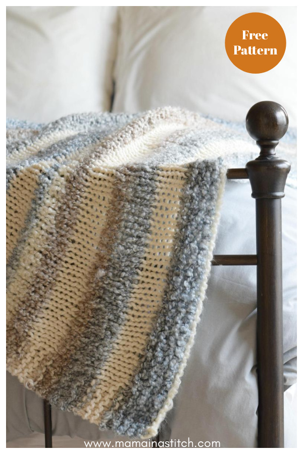 Quick and Easy Knit Throw Blanket Free Pattern