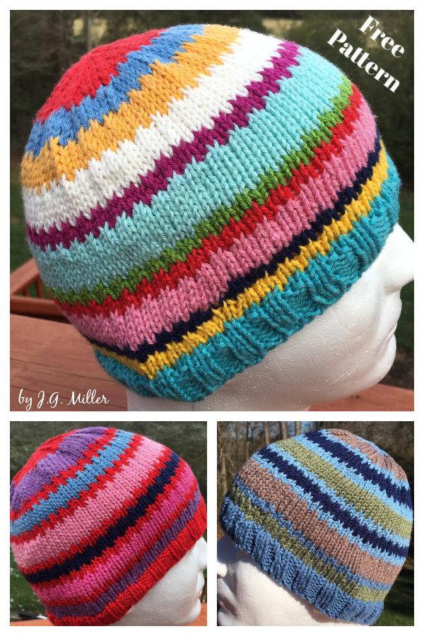 Scrap Happy Hat Free Knitting Pattern