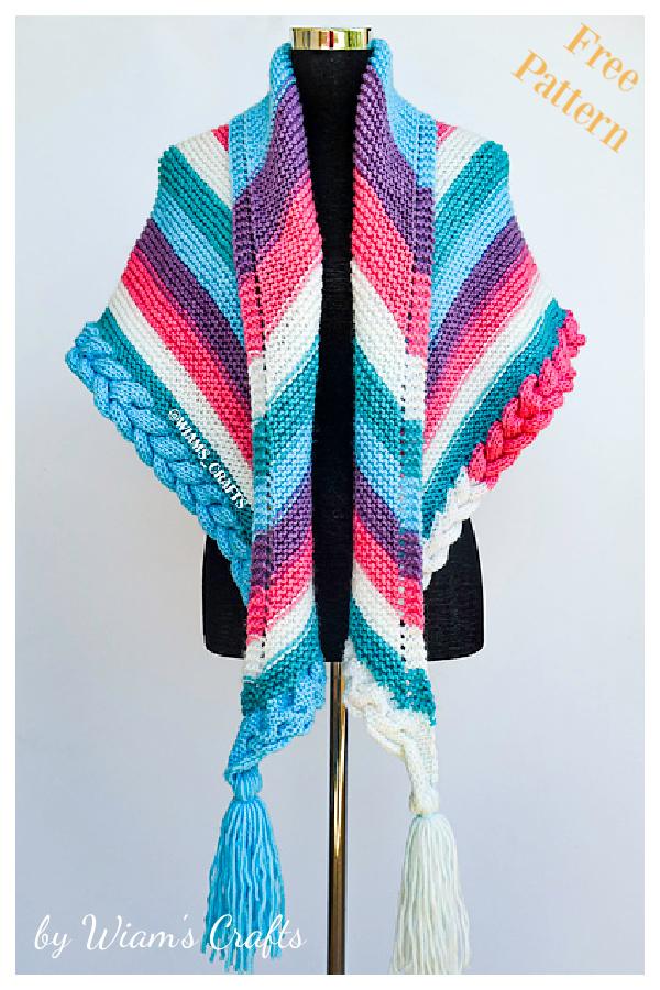 Snow Queen Braid Shawl Free Knitting Pattern