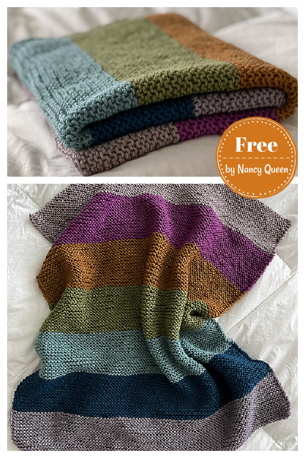 Softly Striped Garter Stitch Colorful Blanket Free Knitting Pattern