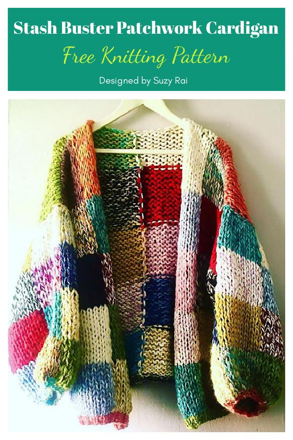 Stash Buster Patchwork Cardigan Free Knitting Pattern