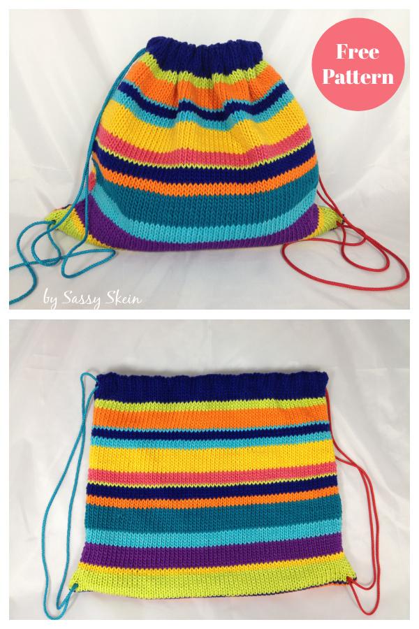 Stash Sack Drawstring Backpack Free Knitting Pattern