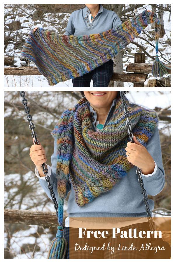 Triangle Shaped Braids Hugged Shawl Free Knitting Pattern