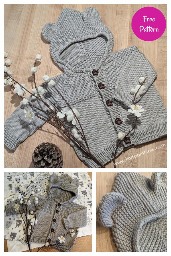 Patrón de tejido gratuito de suéter con capucha de oso bebé