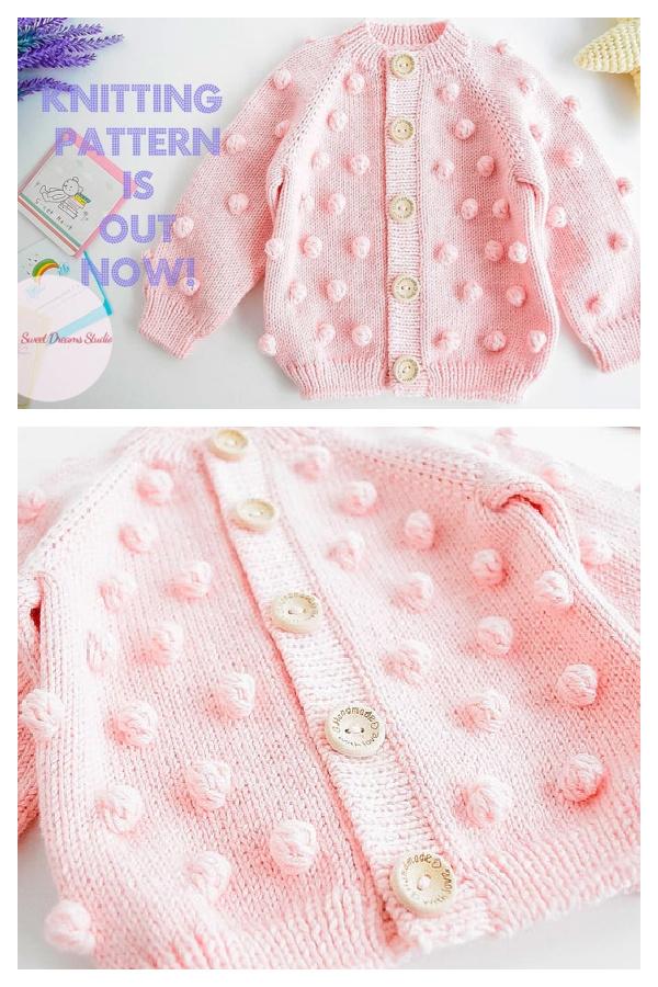 Baby Popcorn Cardigan Knitting Pattern