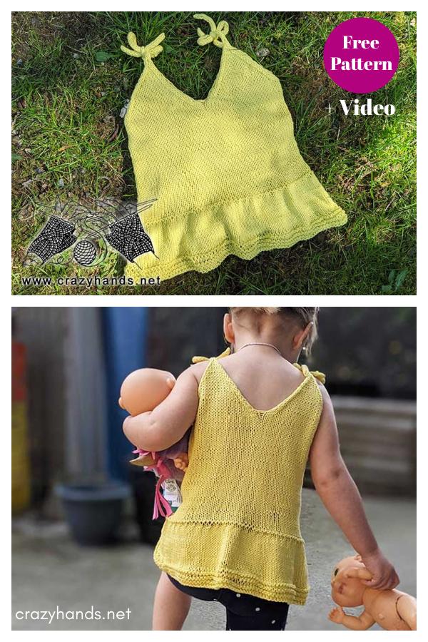 Tutorial en vídeo y patrón de tejido gratuito Baby Summer Top