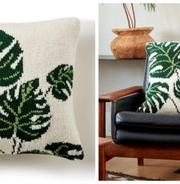 Leaf Pillow Free Knitting Pattern