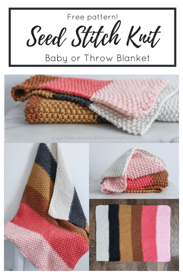Seed Stitch Baby Blanket Throw Free Knitting Pattern