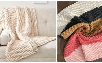 Seed Stitch Blanket Throw Free Knitting Pattern