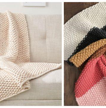 Seed Stitch Blanket Throw Free Knitting Pattern