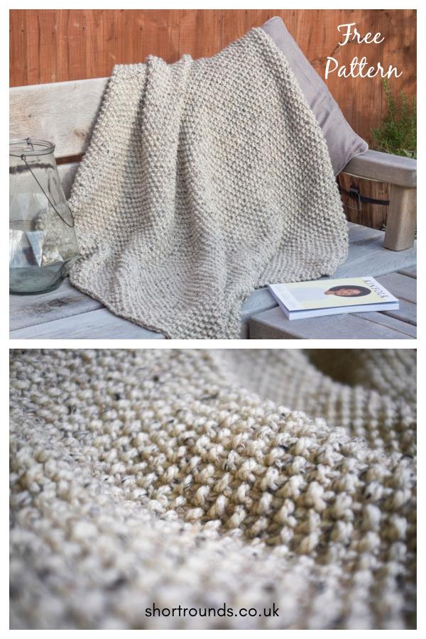 Snug Seed Stitch Blanket Throw Free Knitting Pattern