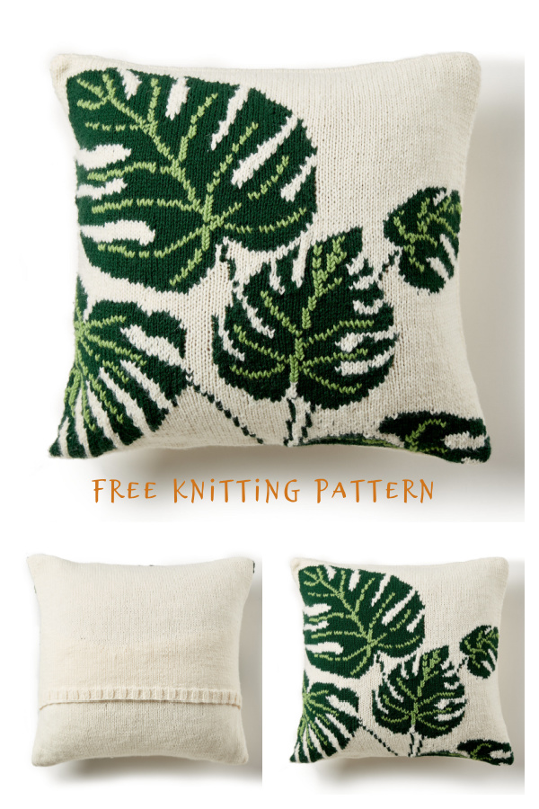 Tropical Leaf Pillow Free Knitting Pattern