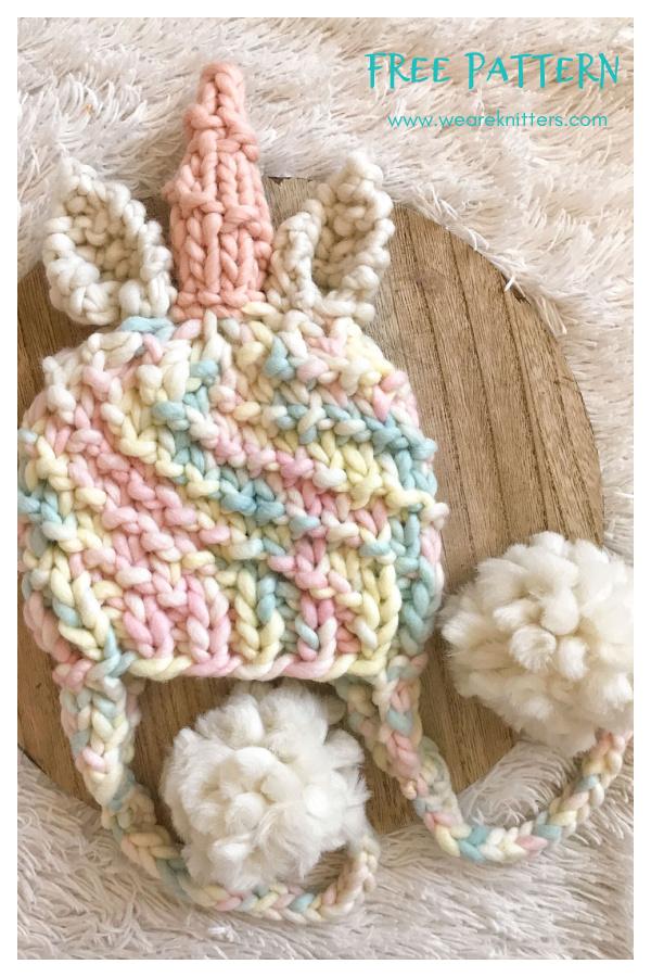 Unicorn Beanie Free Knitting Pattern