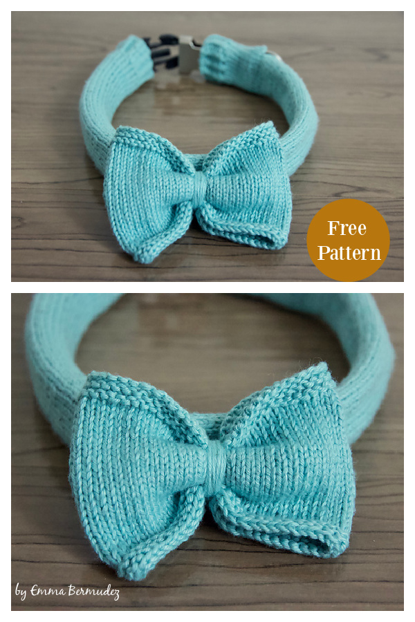Dog Bow Tie and Collar Cover Free Knitting Pattern