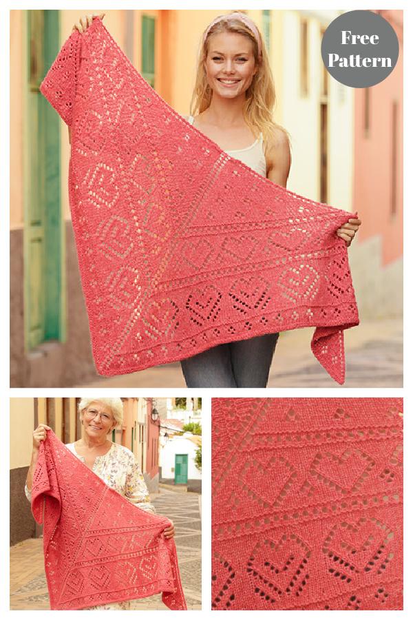Heart Lace Shawl Free Knitting Pattern