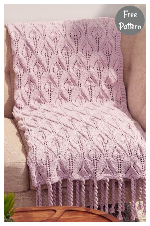Lace Leaf Blanket Free Knitting Pattern