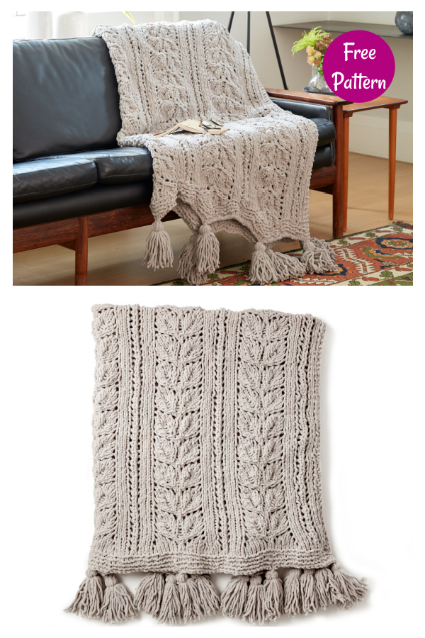 Rose Leaf Blanket Free Knitting Pattern