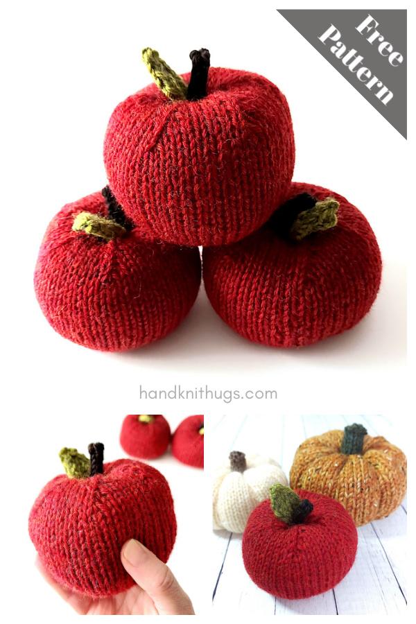 Stuffed Wool Apples Free Knitting Pattern