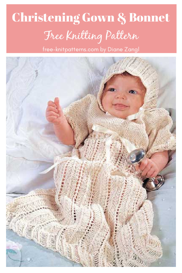 Angel Christening Gown and Bonnet Free Knitting Pattern