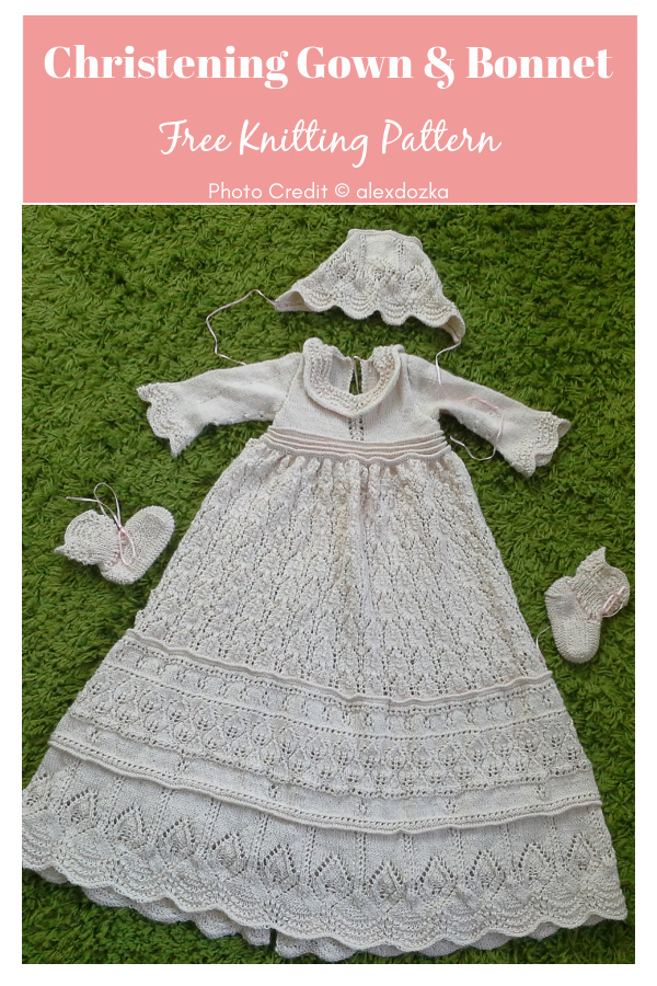 Angel Kissed Christening Gown and Bonnet Free Knitting Pattern