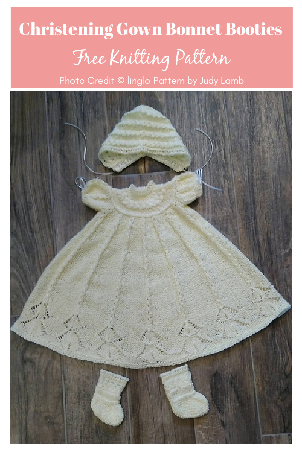 Cabled Yoke Christening Gown Bonnet Booties Free Knitting Pattern