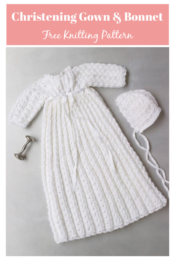 Christening Gown and Bonnet Free Knitting Pattern