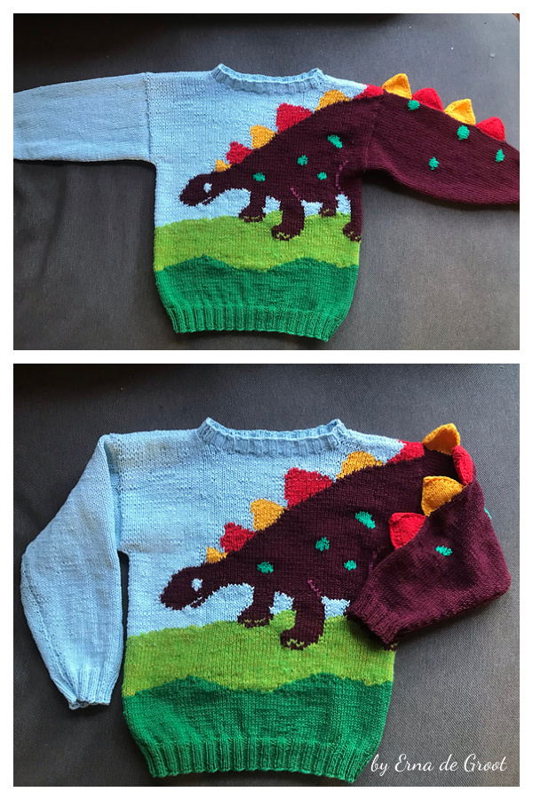 Dino Sweater Free Knitting Pattern
