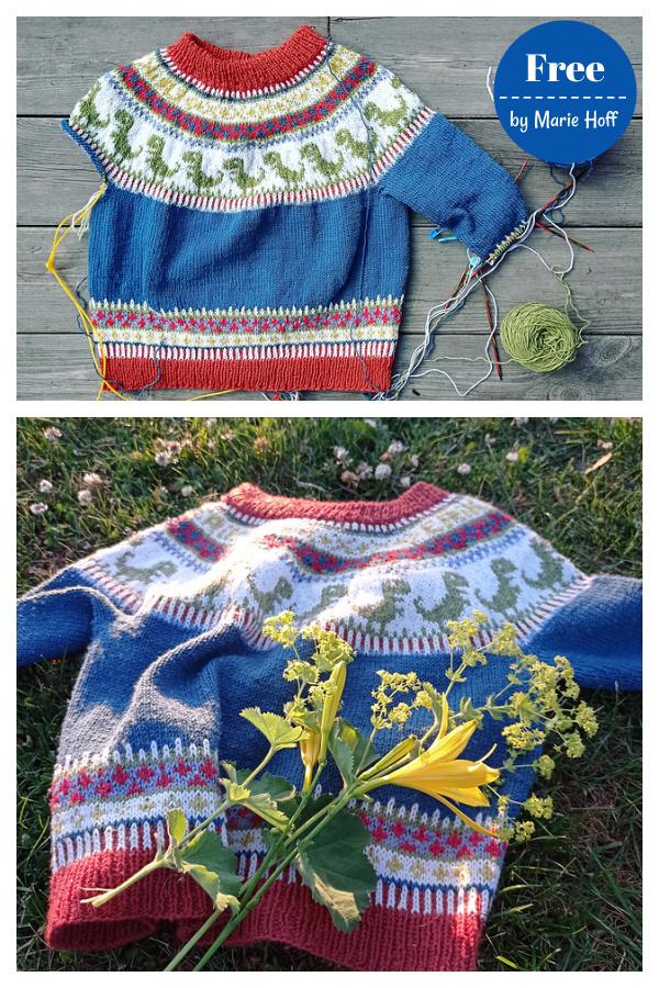 Erik´s Dino Sweater Free Knitting Pattern