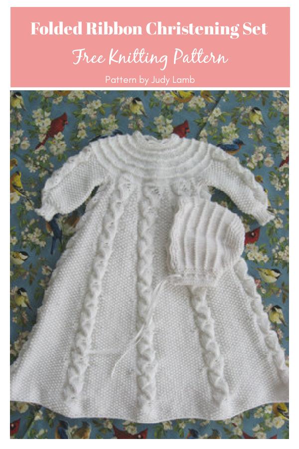 Folded Ribbon Christening Set Free Knitting Pattern