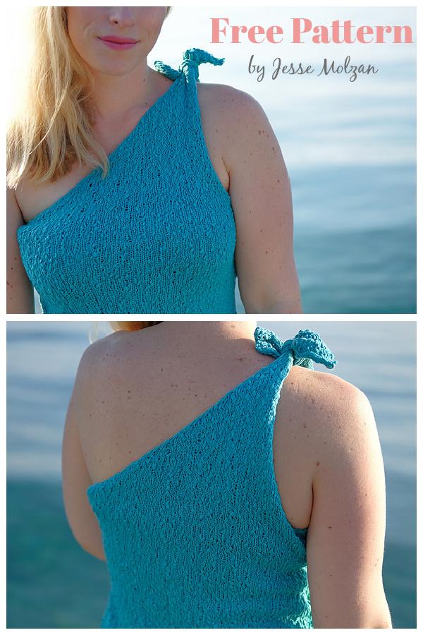 Lakka One Shoulder Tank Top Free Knitting Pattern