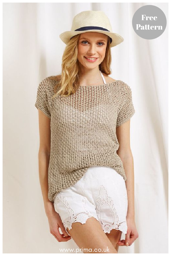 Linen Lace Top Free Knitting Pattern