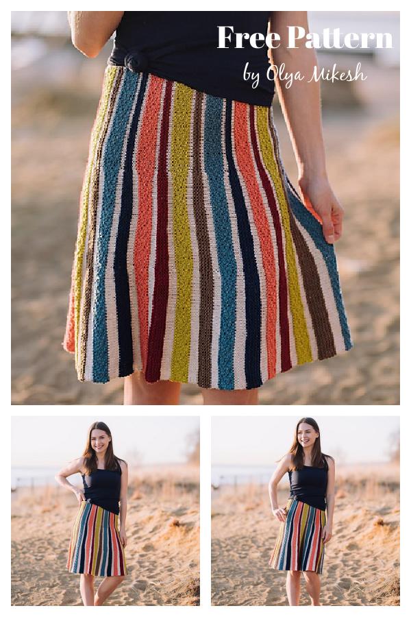 Mariza Striped Skirt Free Knitting Pattern