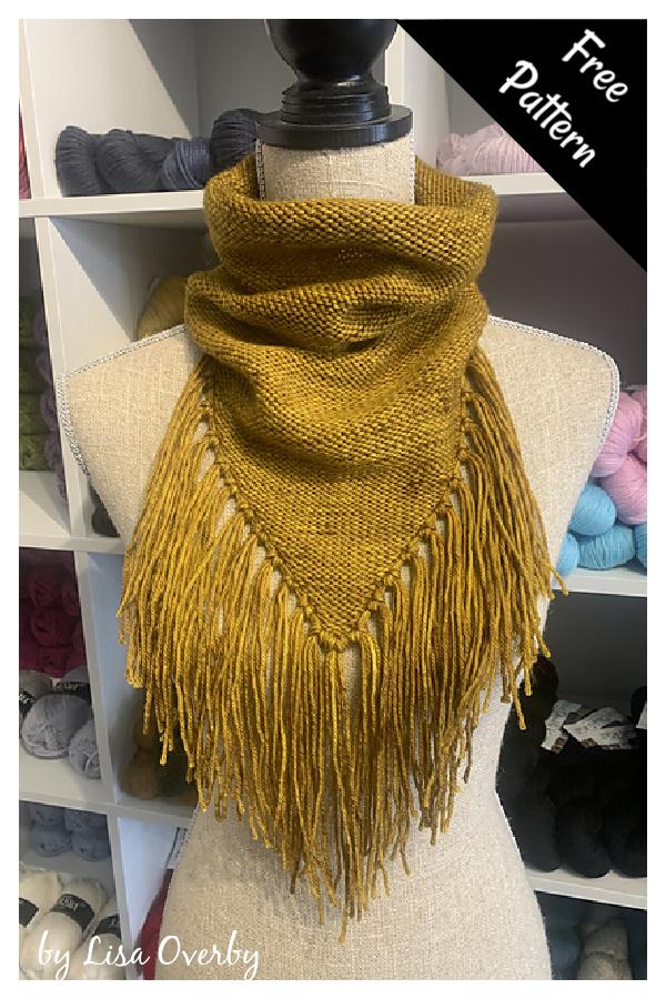 Bandana Cowl with Fringe Free Knitting Pattern