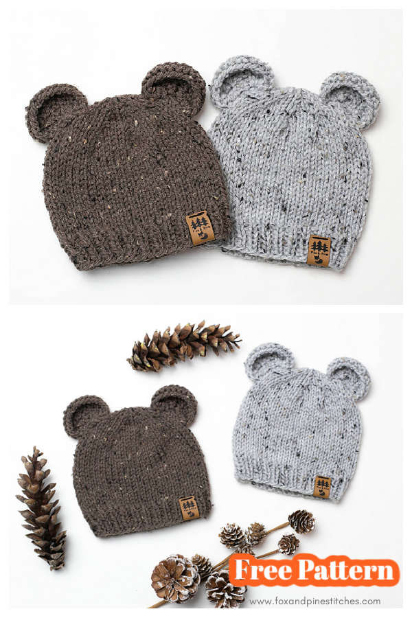 Bear Ears Beanie Hat Free Knitting Pattern