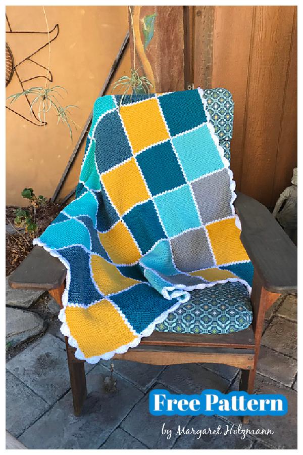 Bingo Patchwork Squares Blanket Free Knitting Pattern