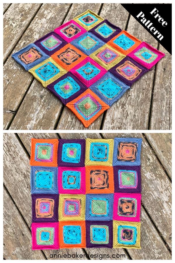 Chop Suey Patchwork Squares Blanket Free Knitting Pattern
