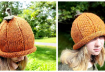 Chunky Pumpkin Roll Beanie Free Knitting Pattern