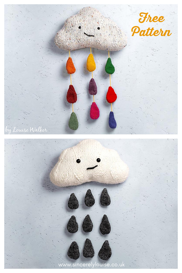 Cloud with Raindrops Free Knitting Pattern
