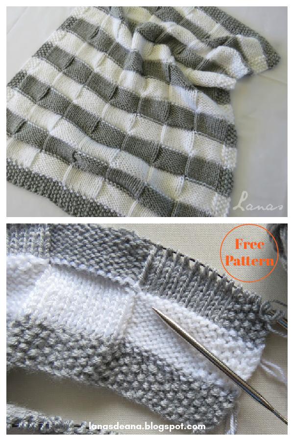 Grey White Blanket Free Knitting Pattern